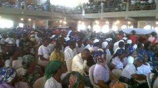 Mourners at St Theresa Catholic Church in Nigeria, Wednesday 1 February 2012