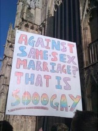 Protest outside York Minster