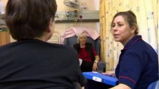 Matron Manon Williams and patients in Ysbyty Gwynedd, Bangor
