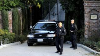 Los Angeles Police outside Don Cornelius' home on 1 February 2012