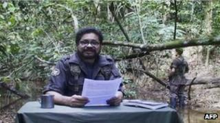 Picture from a video released by the Farc showing Ivan Marquez reading a statement