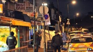 Scene of the shooting in north London