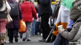Beggar on Irish street