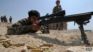 An Afghan soldier in training