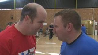 Andrew Darbyshire and Paul Jarrett go head to head at a training session for a charity boxing match