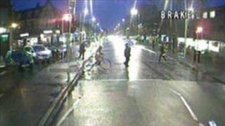CCTV showing two cars police want to trace