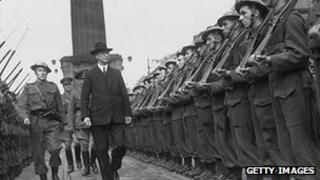 Eamon de Valera inspects the Irish Army