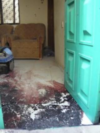 Bloodstains near bedroom door of house in Kano raided by security forces following 20 January bombings