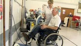 Patient being treated at Midlands Centre for Spinal Injuries at Oswestry