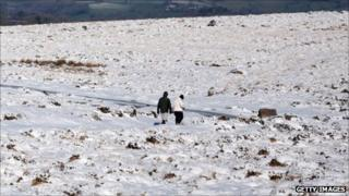 Couple walk across Dartmoor on 2 February 2012