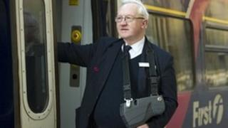 """First Scotrail conductor Alan Mitchell said he was """"delighted to be back"""""""