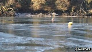 Frozen section of River Fal