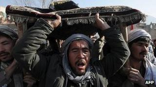 Funeral for victims of suicide attack in Kabul on 7 December 2011