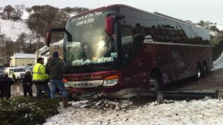Coach skidded on ice in Bedlinog, Merthyr, on Sunday