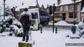 Jack-knifed lorry in Crowborough