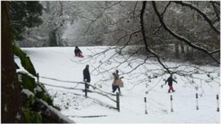 Child sledging in Haywards Heath