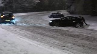 Cars in snow in Nottingham