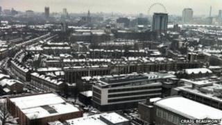 Snow covering London