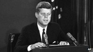 President John F. Kennedy makes a national television speech 22 October 1962 during the Cuban Missile Crisis