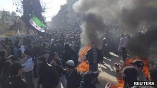 Anti-government protesters near Damascus. Photo: 4 February 2012