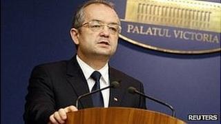 Romania's ex-PM Emil Boc (file pic Jan 2012)