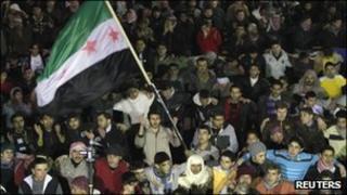 Demonstrators in Syria