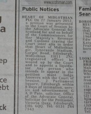 Hearts public notice
