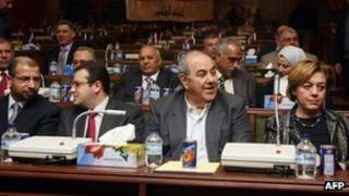 Members of the Iraqiyya bloc attend parliament (29 January 2012)