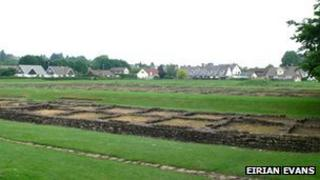 Remains of Roman legionary barracks in Caerleon