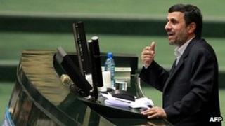 President Mahmoud Ahmadinejad addresses parliament (1 February 2012)