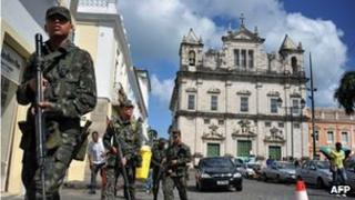 Brazilian soldiers patrol the historic centre of Salvador