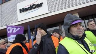 Mitsubishi workers protesting in Born, the Netherlands (7 Feb 2012)