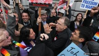 Celebrations outside Ninth US Circuit Court of Appeals in San Francisco, California, 7 February 2012