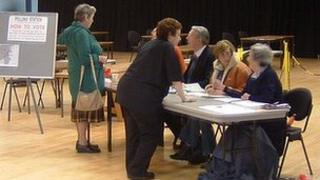 Polling station in the Guernsey 2002 deputies election