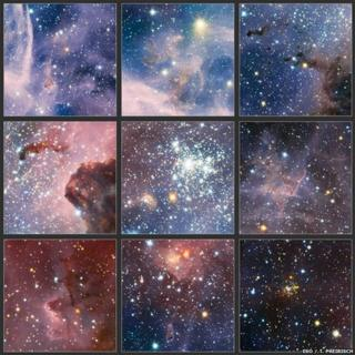 Images from the broad panorama of the Carnia Nebula