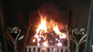 coal burning fire