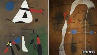 Peinture (1933) and Painting-Poem (1925) by Joan Miro