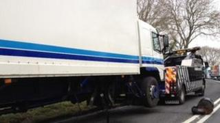 Lorry involved in crash