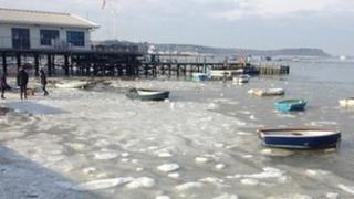 A view of Brownsea with the sea frozen