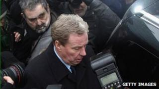 Harry Redknapp is surrounded by the press outside Southwark Crown Court on February 8, 2012 in London, England