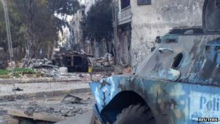 Aftermath of clashes between Syrian security forces and armed rebels in Khaldiya district of Homs (6 February 2012)