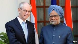 European Council President Herman Van Rompuy and India's prime minister Manmohan Singh.