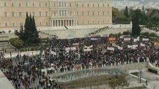 Protesters gather outside Greece's parliament, 10 February