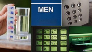 Braille used on - weekly pill box, men's room, elevator and cash machine