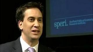 Ed Miliband speaking at Sheffield University