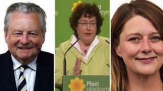 Plaid Cymru leadership candidates: L-R: Dafydd Elis-Thomas, Elin Jones, Leanne Wood