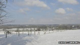 View across a snowy Kennet Valley