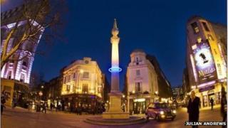 Plunge by Michael Pinsky. Sundial Pillar at Seven Dials. © Copyright Julian Andrews 2012
