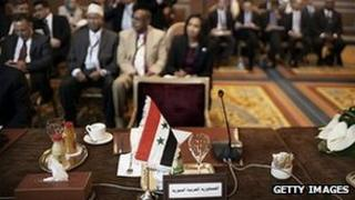 Empty Syrian seat at Arab League meeting in Cairo