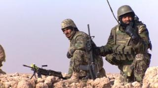 Afghan army soldiers on operation